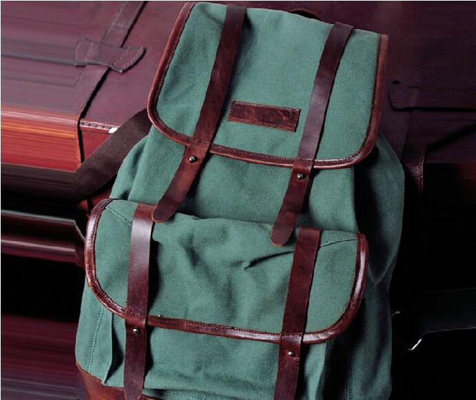 Vintage bag/ backpack/  canvas bag/leather leisure bag/Washed canvas bag/travelling bag