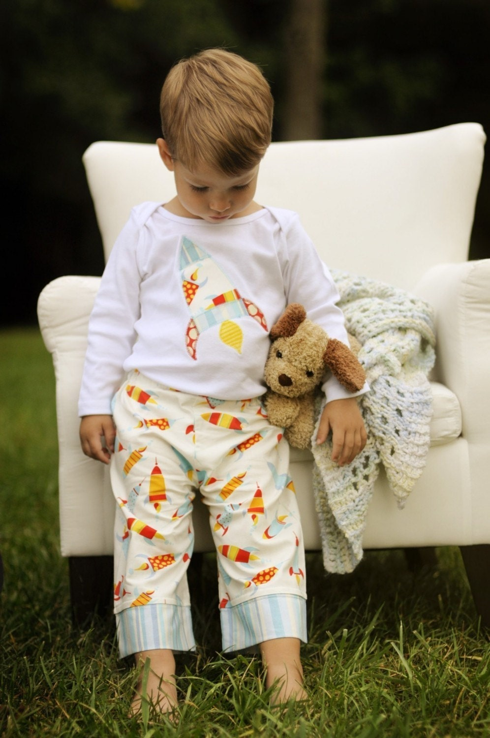 Custom Appliqued Rocket Lounge Set for Little Boys with Pants and Appliqued Tee by Olive and Ollie