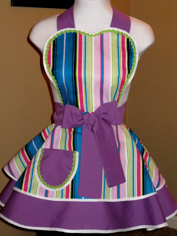 Flirty Purple Stripe Apron