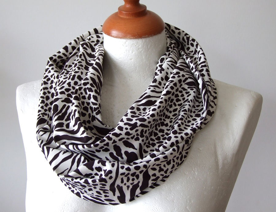 Leopard unisex Infinity scarf ,wild animal print in deep brown on off white, loop circle eternity summer fall fashion - TheScarfBoutique