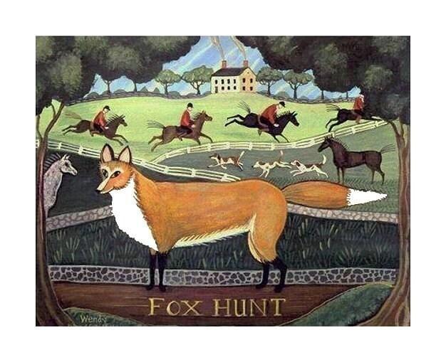 FOX HUNT, signed FOLK ART PRINT w PRIMITIVE RED FOX Horse Rider Dog HUNT SCENE Country  Landscape HUNTER