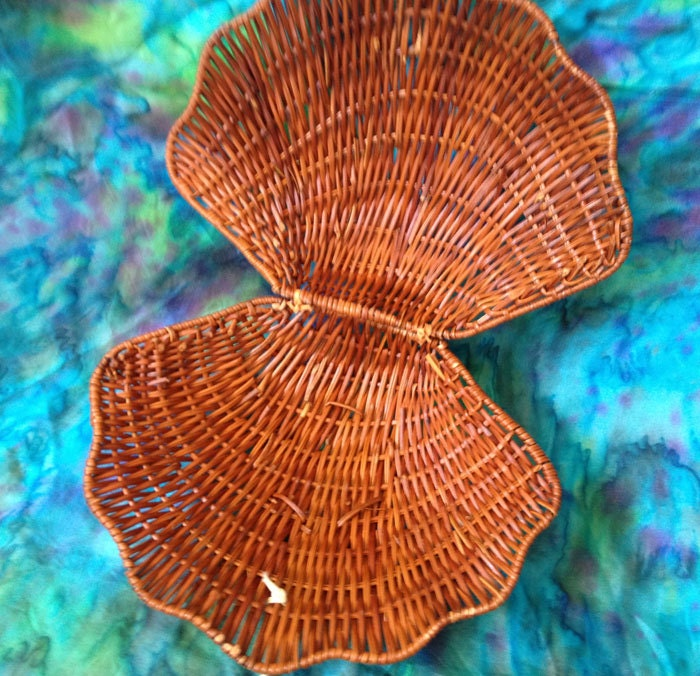 Vintage Wicker Sea Shell Basket For Mermaids By Tealmermaid