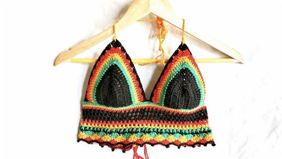 Rasta crochet crop top crochet bikini top rasta halter tie top crochet halterneck top festival top rasta bikini rasta halter tie