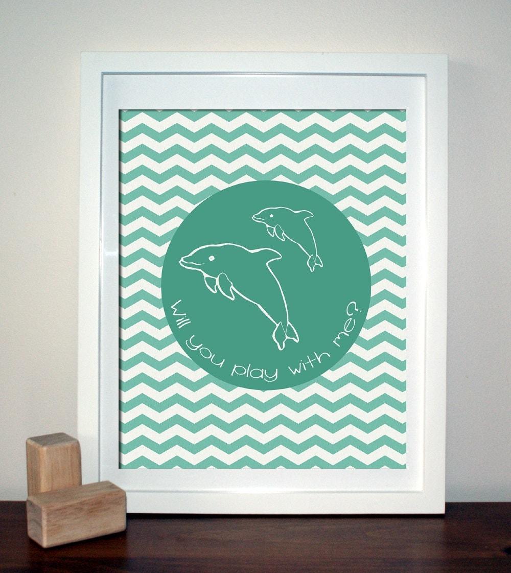 Items similar to dolphin print modern nursery wall art - Modern nursery wall decor ...