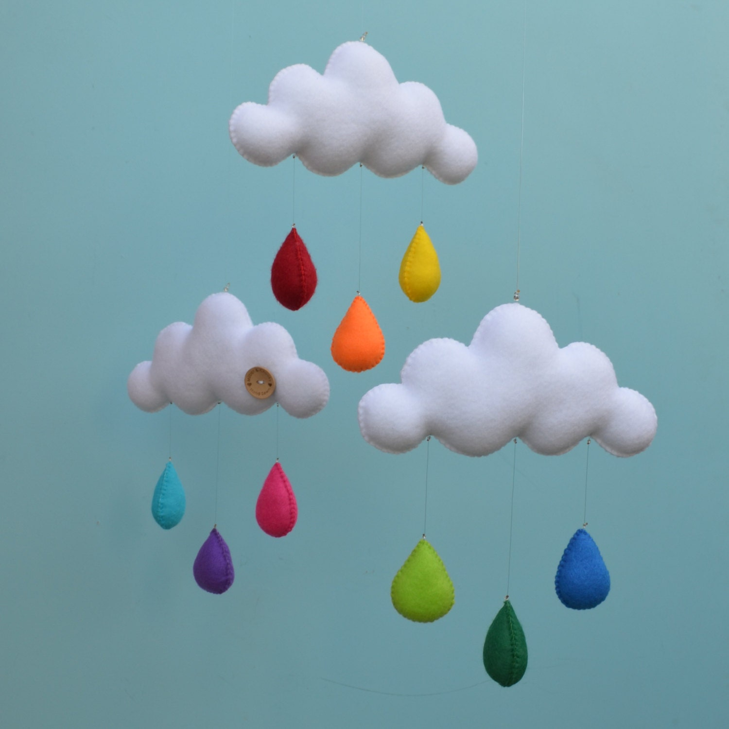 "Hand made children's cloud mobile, nursery decor. ""Rainbow"" - MilbotandChooky"