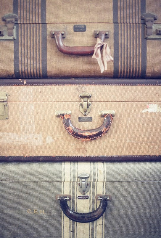 vintage luggage postcard set