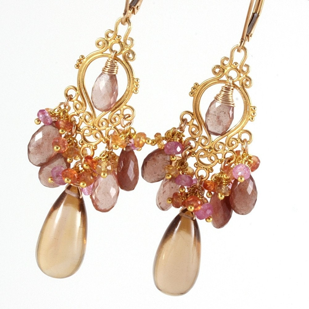 Champagne Citrine Cat's Eye Scapolite Pink Ruby Yellow Sapphire Chandelier Earrings