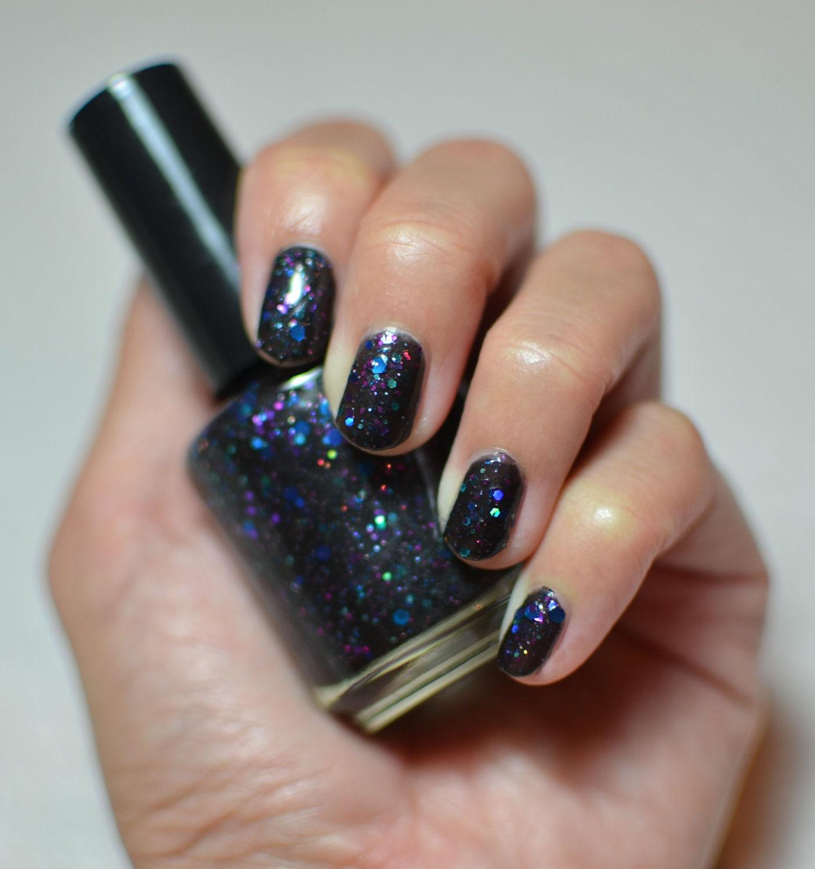 Nail Polish: Friday Night - Dark Grey/Black Polish with Colored Glitters