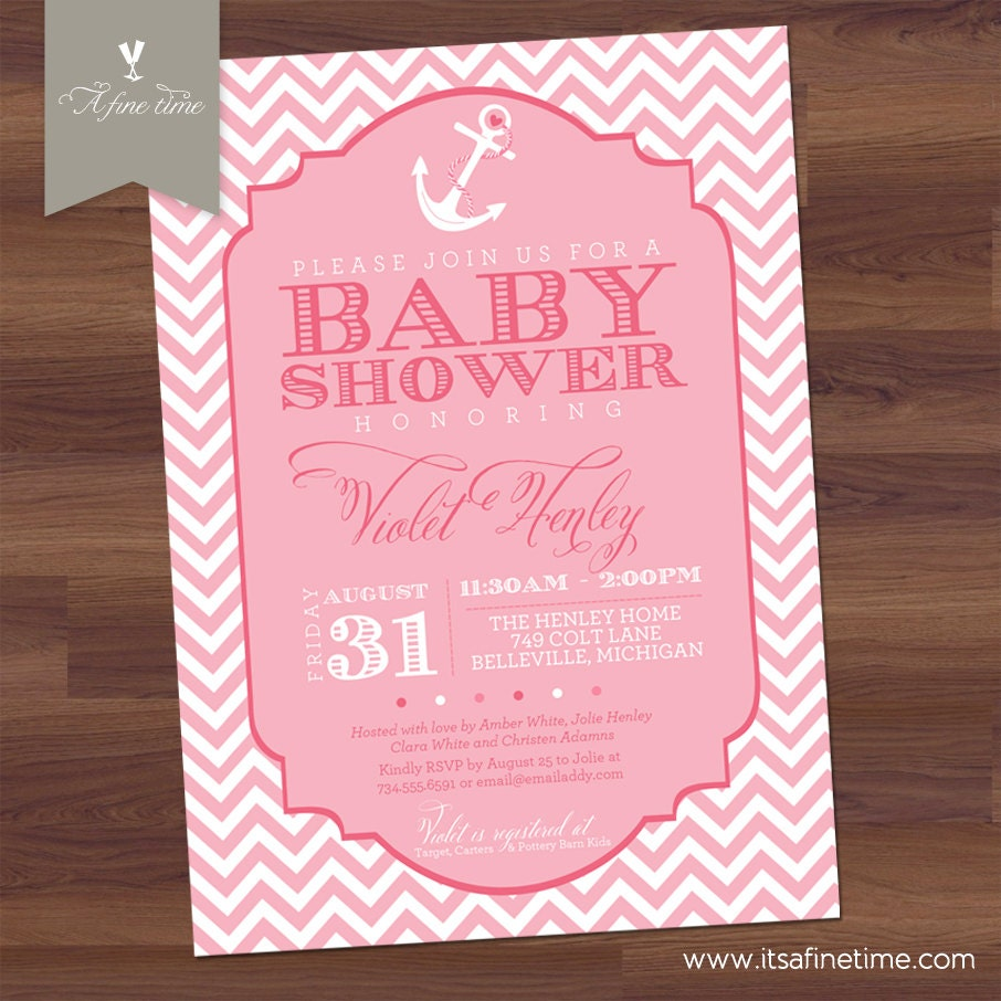 items similar to baby shower invitation girl chevron nautical theme