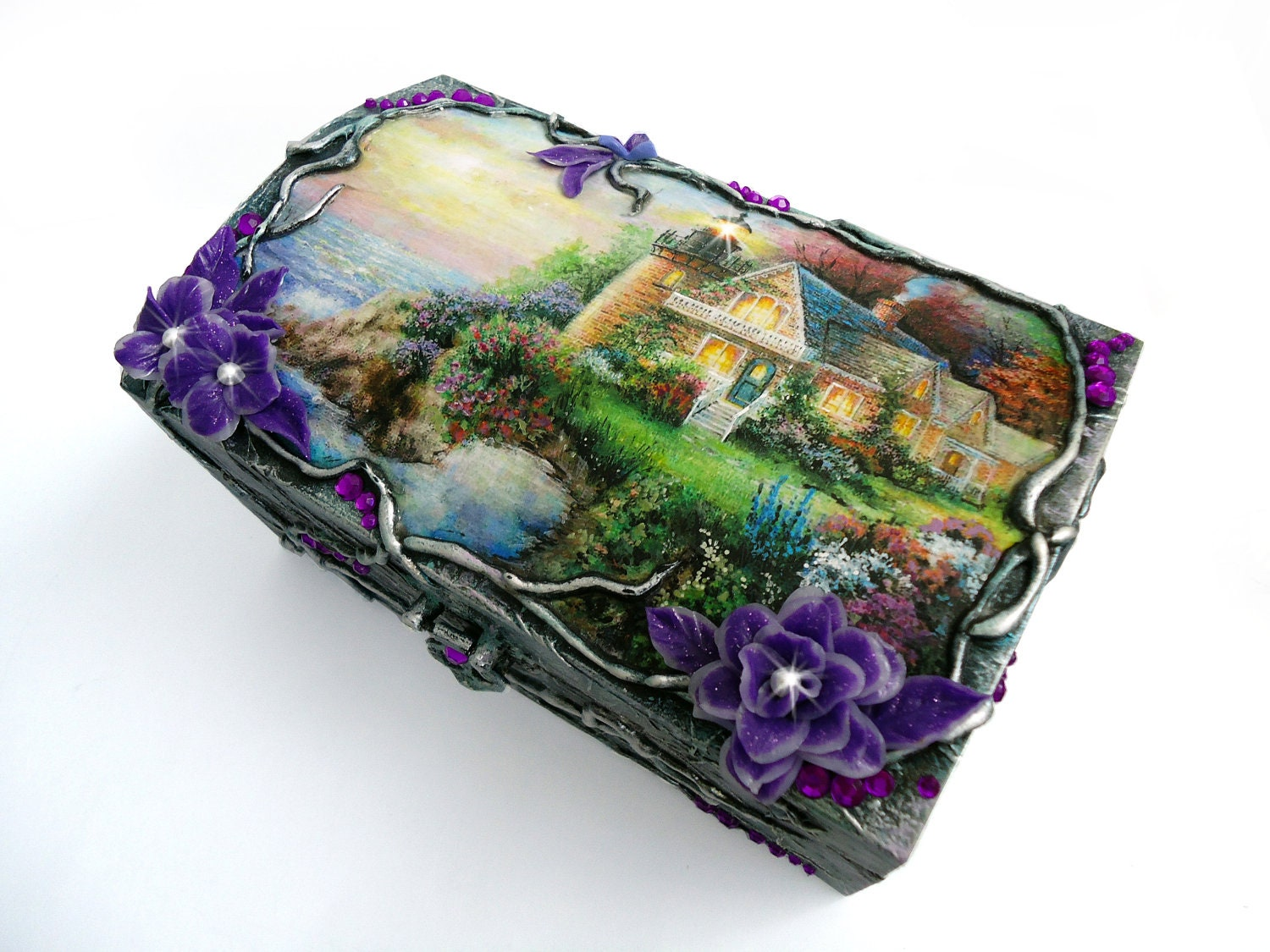 Hand decorated, Hand painted,  Wood jewelry box(6 3/4''-3 1/2''-4 1/4'')Elements of decoupage, Polymer clay flowers, Crystals - flowerdeco