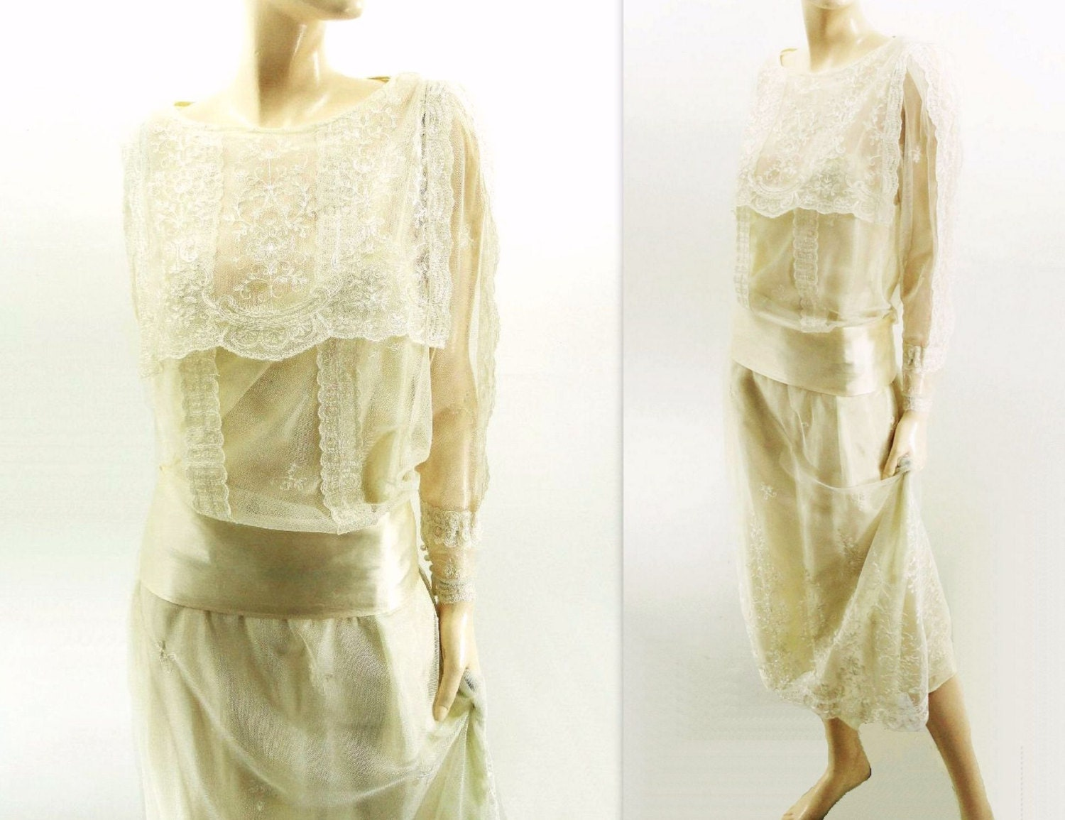 Vintage wedding dress 1980s flapper 20s style by for Vintage flapper wedding dress