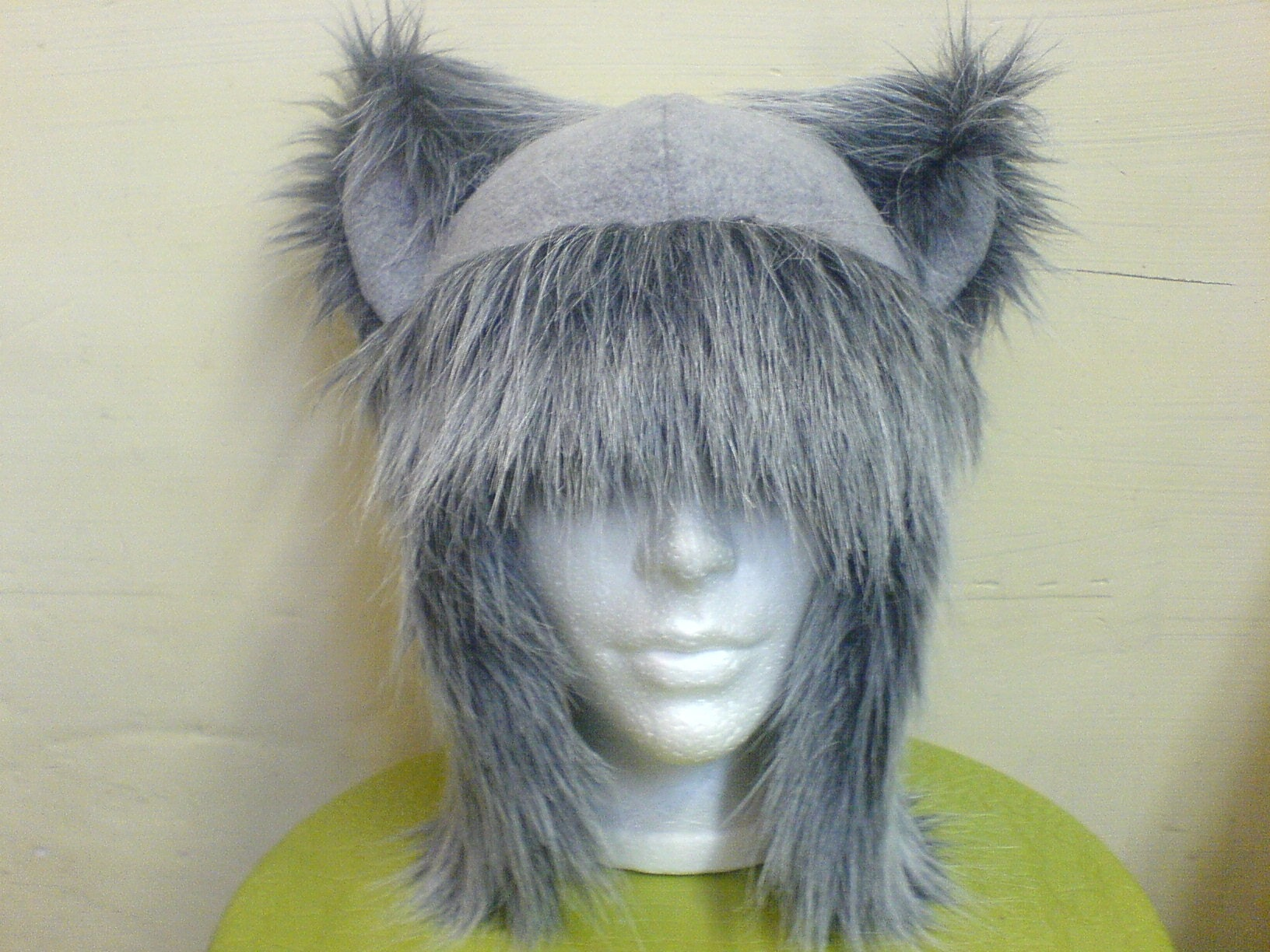 Etsy :: WILD GREY FURRY AVIATOR ear flap KITTY cat Hat cosplay goth NEW from etsy.com