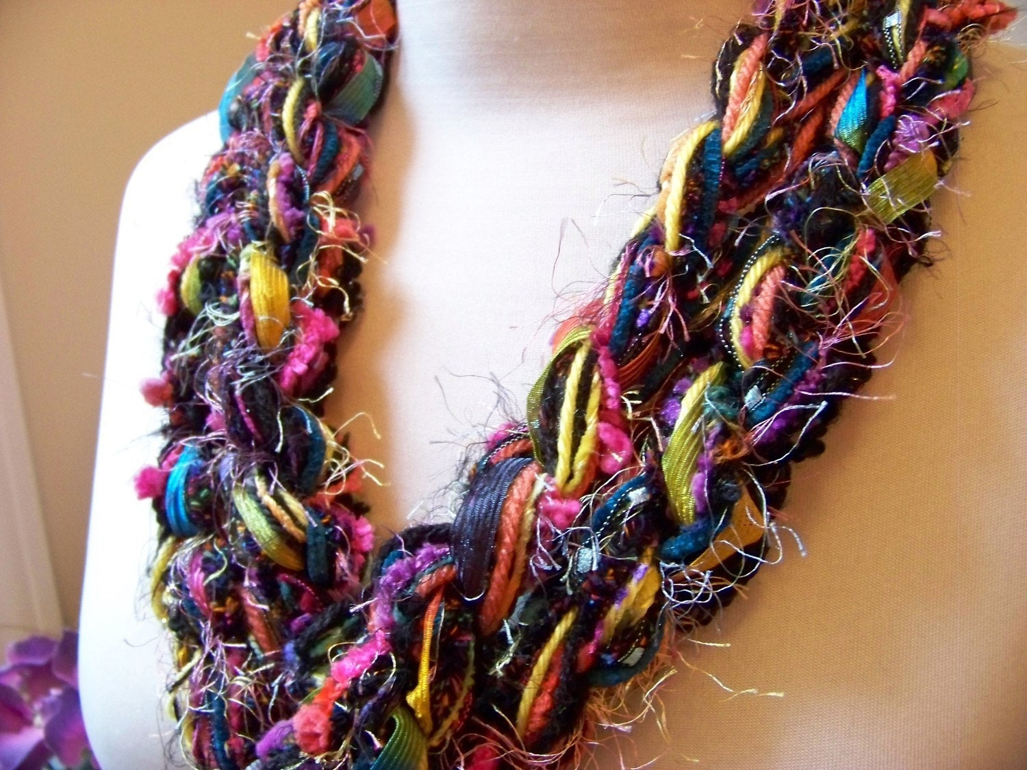 Crochet Scarf - CONFETTI Skinny Pippy Scarf - Black, Hot Pink, Teal, Lemon Yellow, Coral