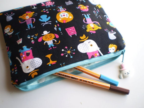 Retro Animals retro Zipper Pouch  Bag kawaii