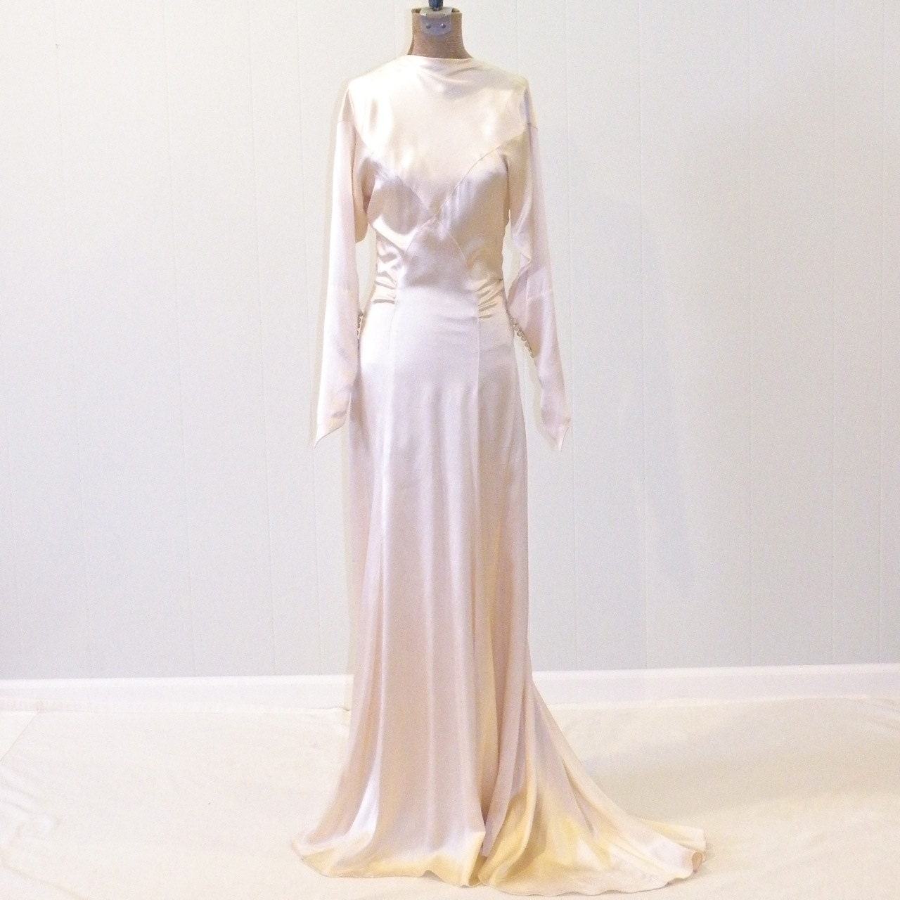 1930s Wedding Dress Ivory Silk Charmeuse 30s By Daisyandstella