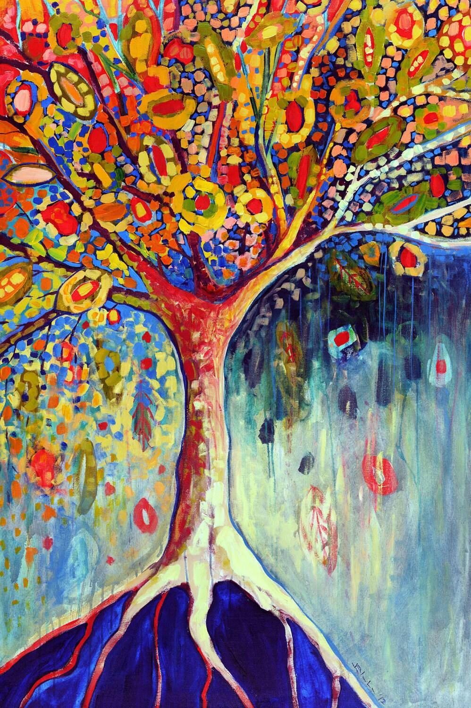 Fiesta Tree - Modern Abstract 12 x 18 inch Fine Art Print by Jenlo