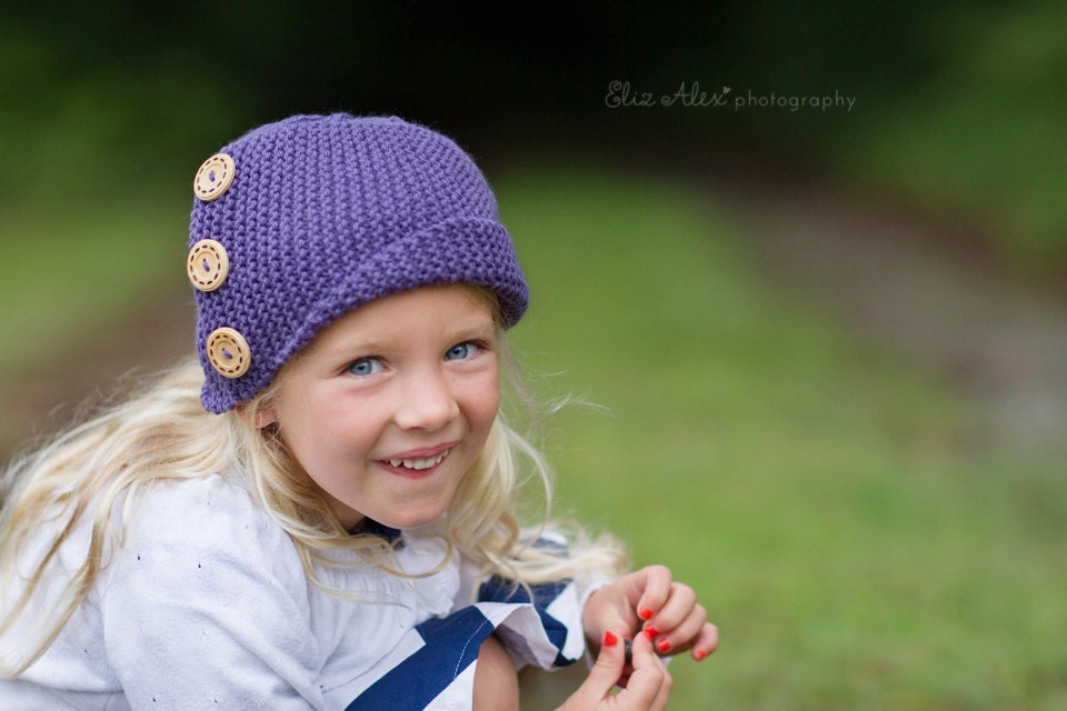 Girl's Purple Cloche Hat, Acai Knit with Wood Buttons, Child Size (Item 941) - ThatsTheCutestThing