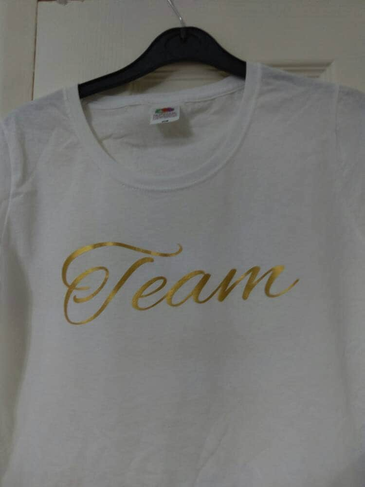 Team tee top Tshirt white gold vinyl white tee white Tshirt team Tshirt team top team tee gold letters team size medium womens