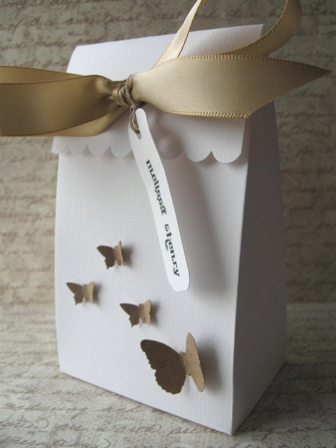 Wedding Favor Box Butterflies -White Customizable