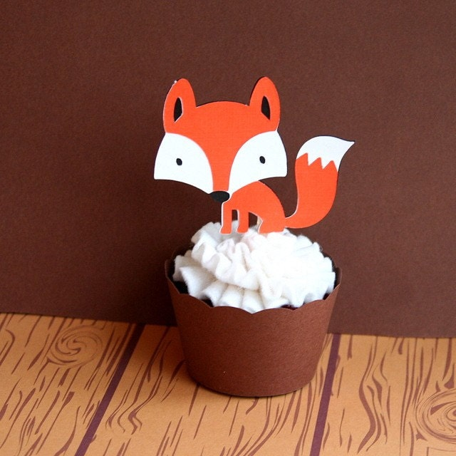 Woodland Creatures Bright Orange Fox Cupcake Toppers Set of 4 - READY TO SHIP