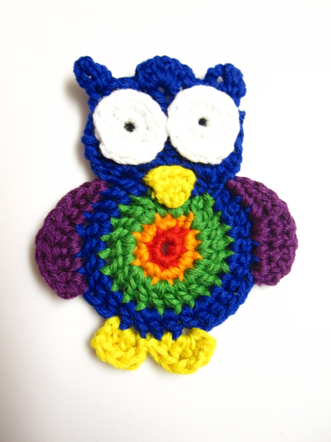 Crochet Owl Applique - Rainbow Owl Applique - slappytheseal