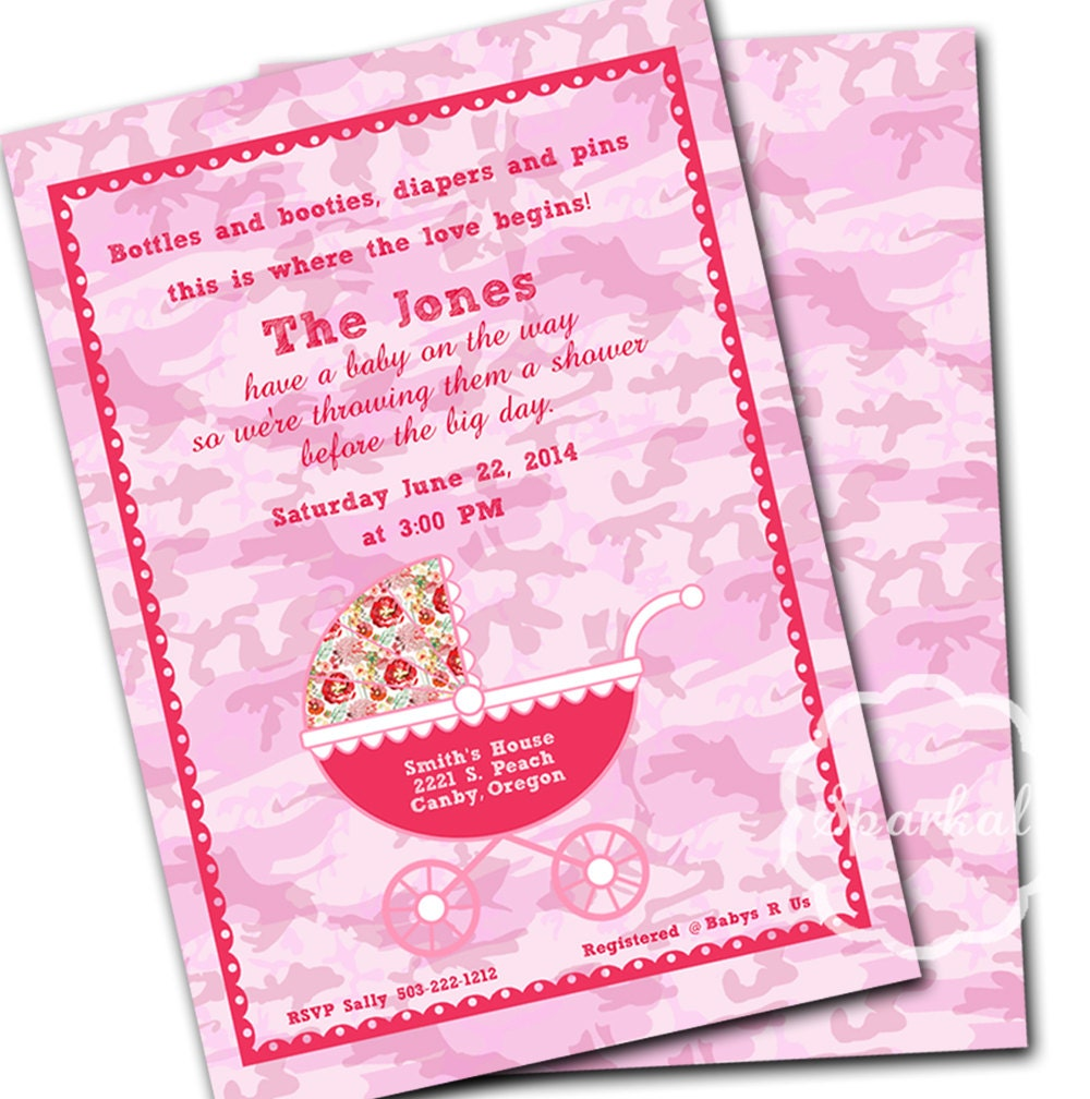 pink camo baby shower printable invitation handmade pink mossy oak