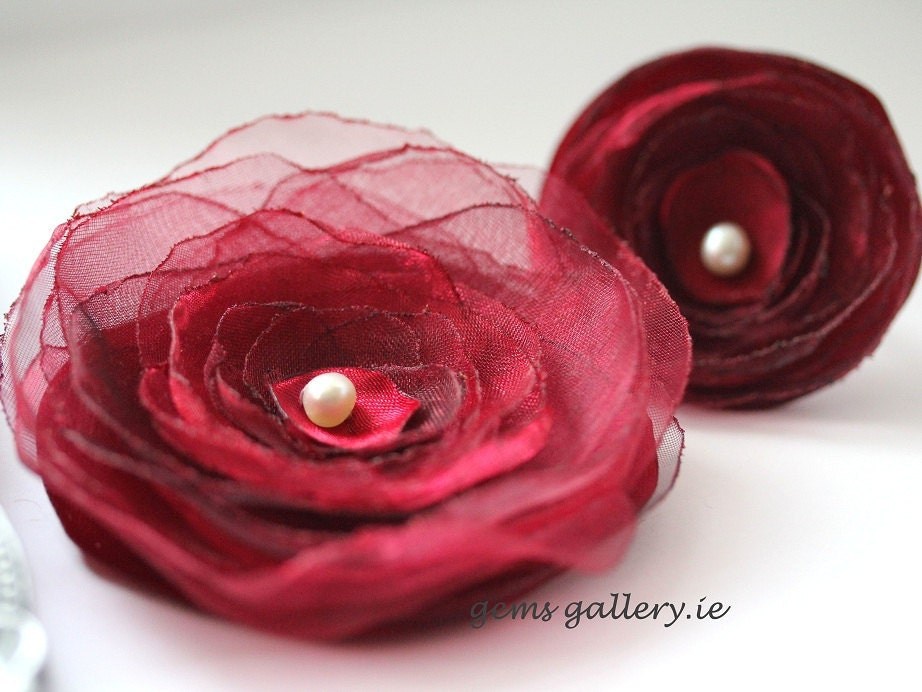 Deep Red Satin Brooch and Ring Set Organza Flower - gemsgallery