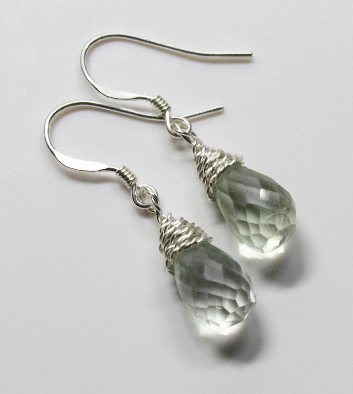 Green Amethyst Earrings  Green Dangle Earrings  Bridal Earrings  Minimalist Earrings  Februarys Birthstone  FREE UK SHIPPING