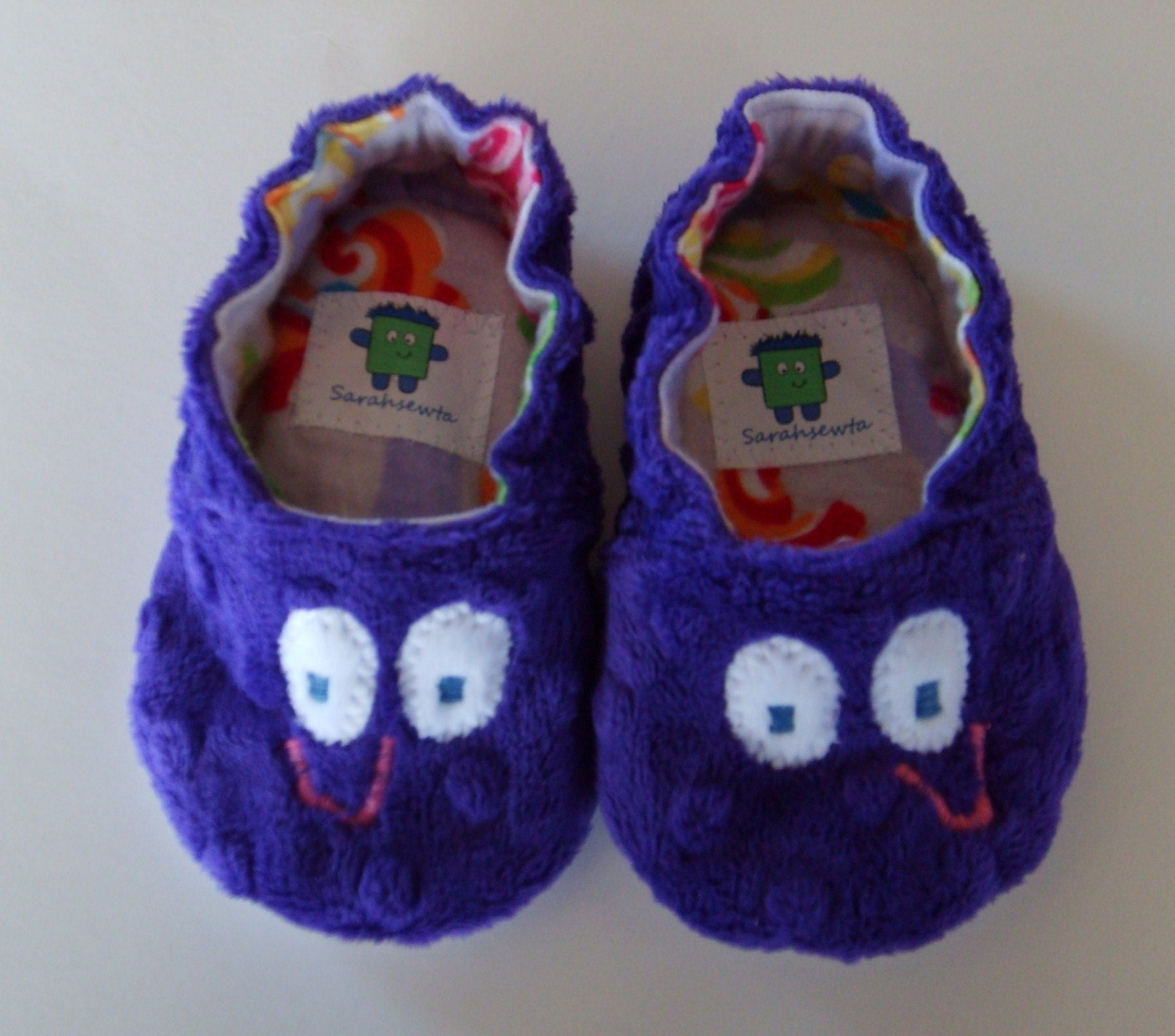Purple Minky Dot Jojo Baby Slippers with Rubber Sole