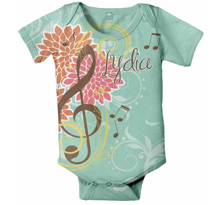 Personalized Baby Onesie, Music Notes, Treble Clef Infant Creeper, Custom Onesies - SimplySublimeBaby