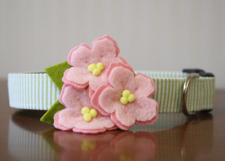 Cherry Blossom Seersucker Flower Dog Collar