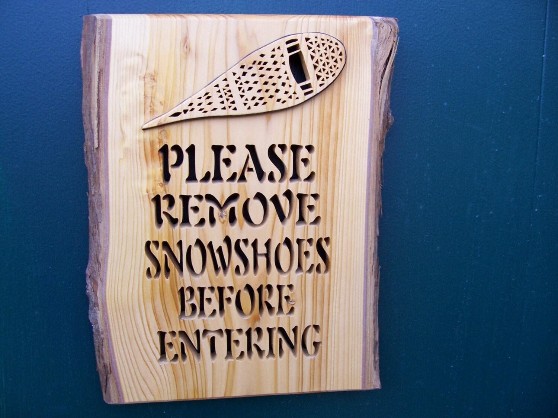 Handmade Cedar Snowshoe Sign