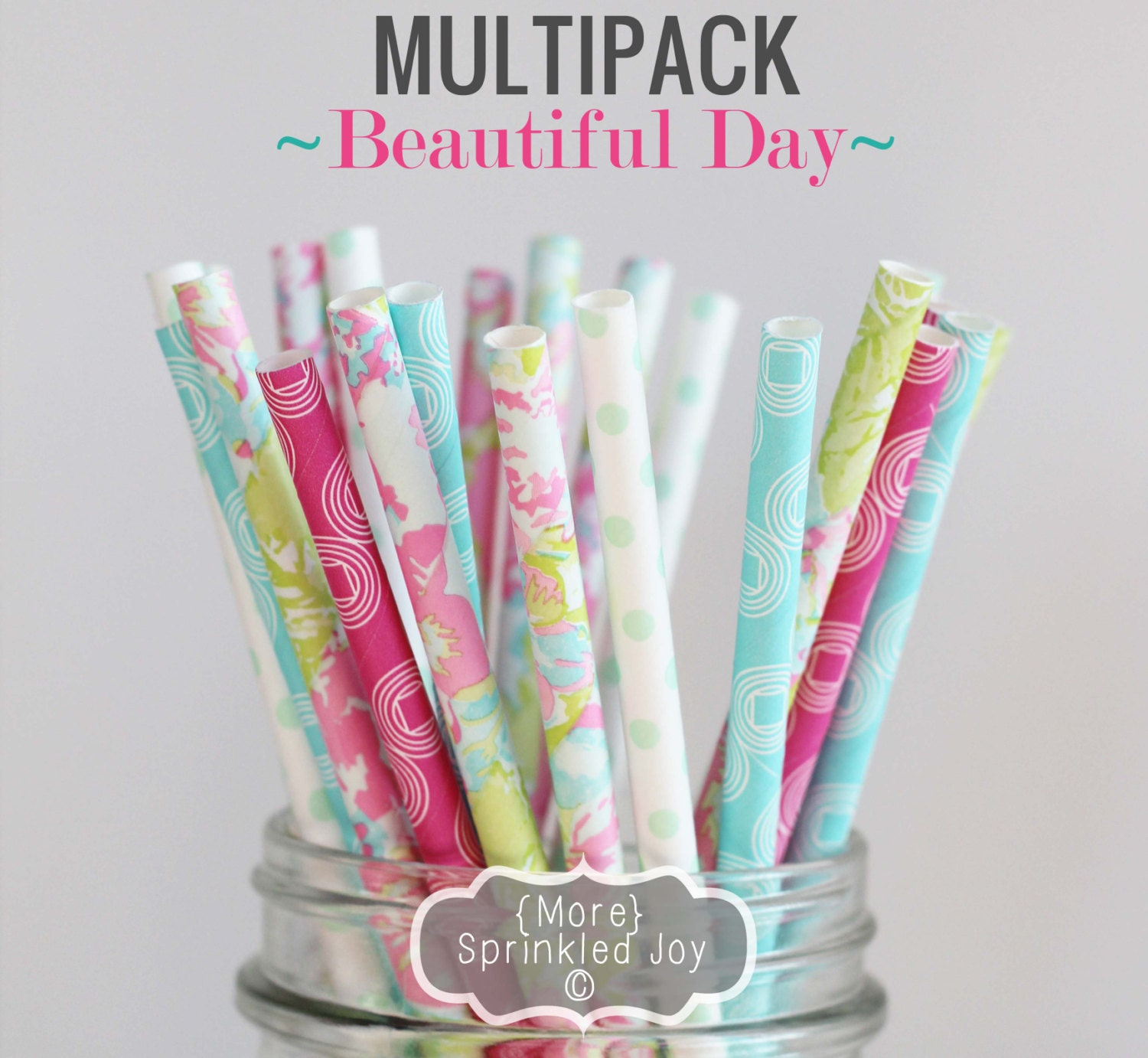 BEAUTIFUL DAY Chic Straw Multipack, Floral, Dots, Vintage, 25 Straws, Pastel, Easter, Green, Pink, Aqua - MoreSprinkledJoy