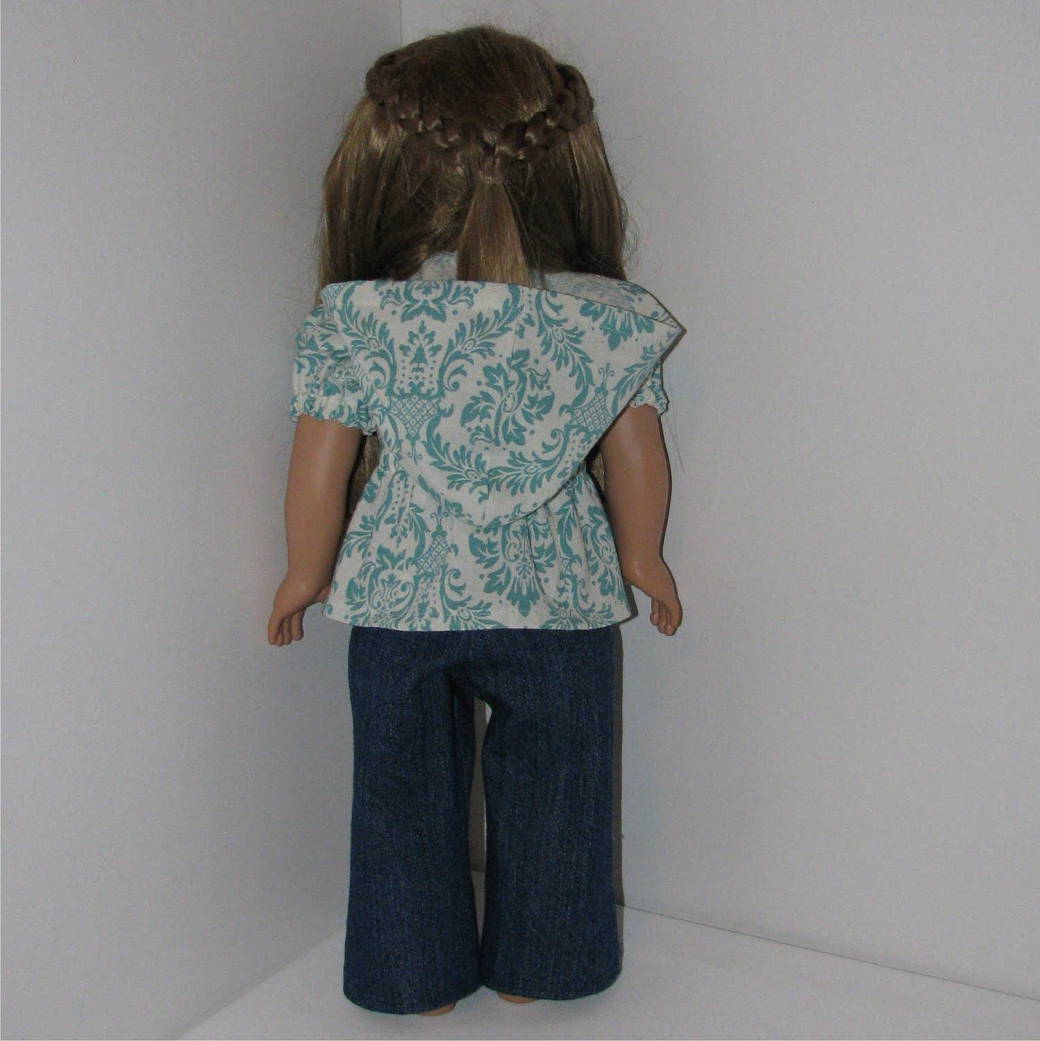 Jeans and Teal Damask Hooded Blouse, Fits American Girl and 18 Inch Dolls