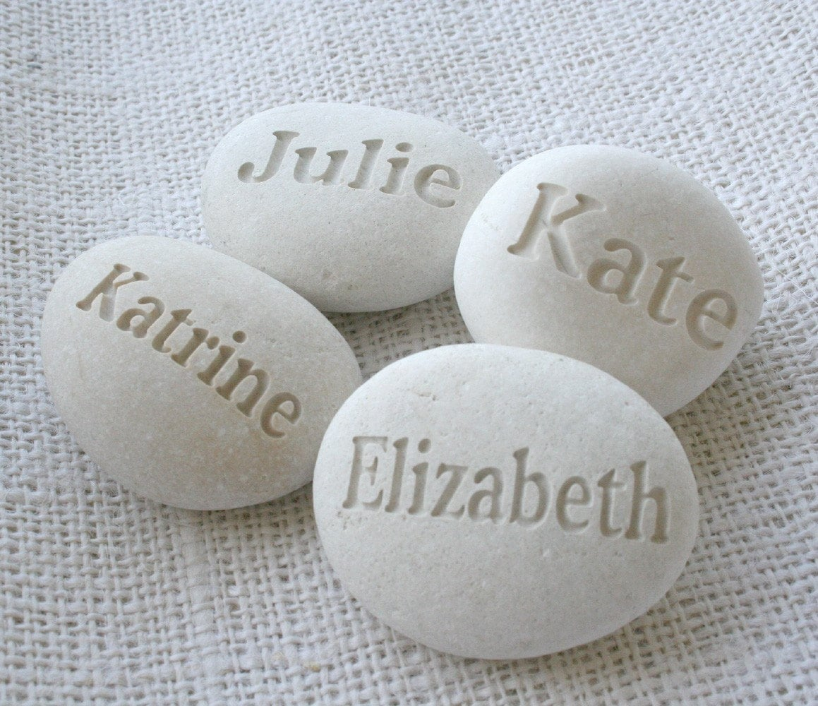 White Beach Pebbles - set of 4 Custom Engraved name or word pebbles by sjEngraving