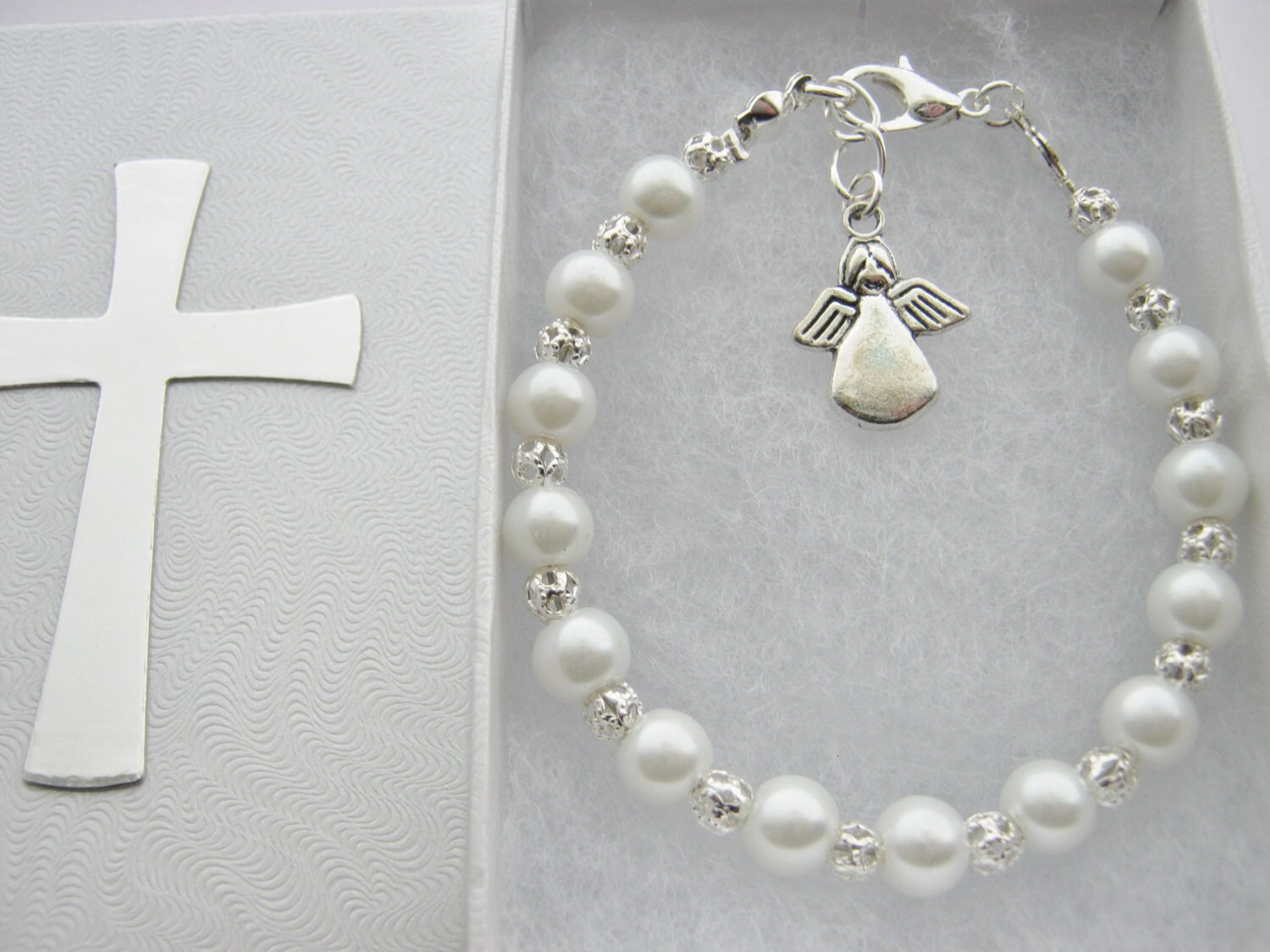 First Holy Communion Jewellery  Bracelet with White Pearl Beads Chalice Cross Angel Confirmation Baptism Girls Religious Jewelry Gifts