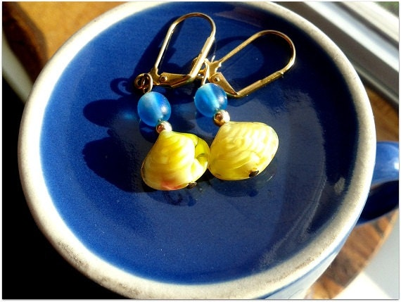 Handcrafted Sunny Yellow Sea Shell Earrings // Sand and Sea // Translucent Matte Blue and Glossy Vibrant Yellow Colors - ChainAndCluster