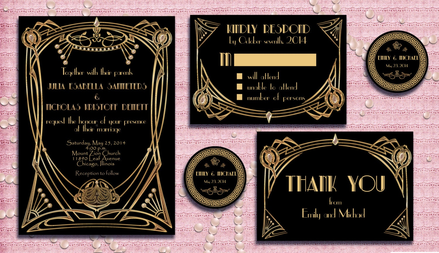 great gatsby style art deco wedding invitation suite by