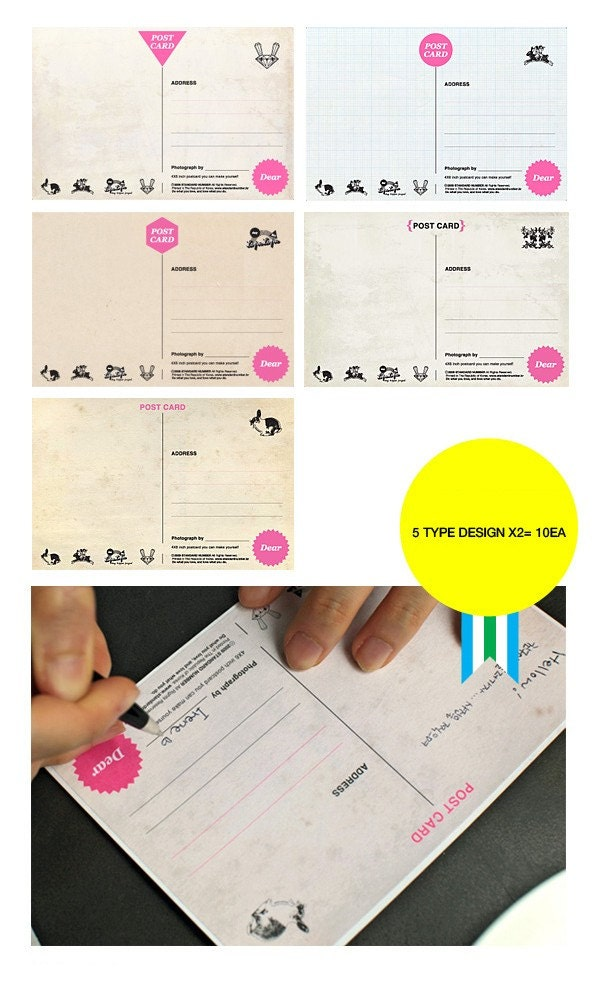 4x6 postcard sticker 5 designs 10sheet