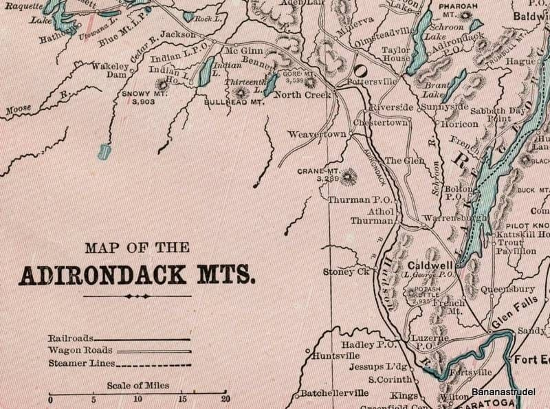 adirondacks mountains map. 1897 Map of the Adirondack