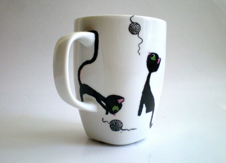 Playful Black Cats - Hand painted Mug (made to order), Gift for Catlovers Petlovers
