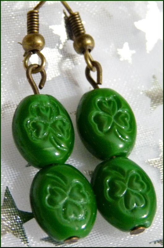 Irish Green Shamrocks and Brass Earrings--St. Patrick's Day