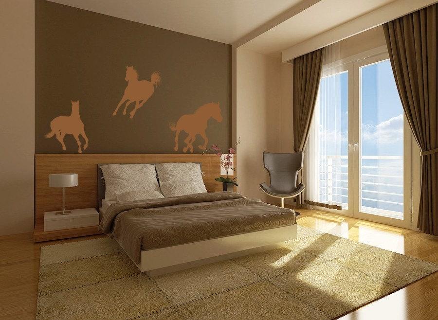 وینیل دیوار نقاشی دیواری اسب وحشی دیوار هنر سه نفری اتاق کودکان و نوجوانان ، پرستاری ، طراحی داخلی و دکور ، خوابگاه کسب و کار
