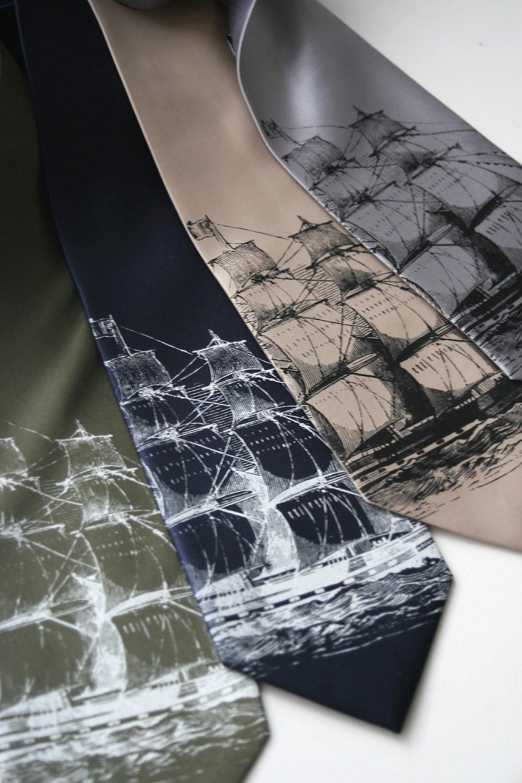 Clipper ship, screen printed microfiber necktie