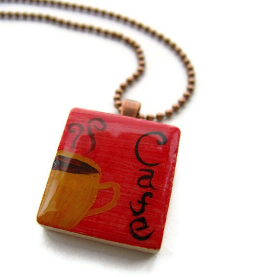 Red Cafe Scrabble Tile Necklace Hand Painted Yellow Coffee Mug - heversonart