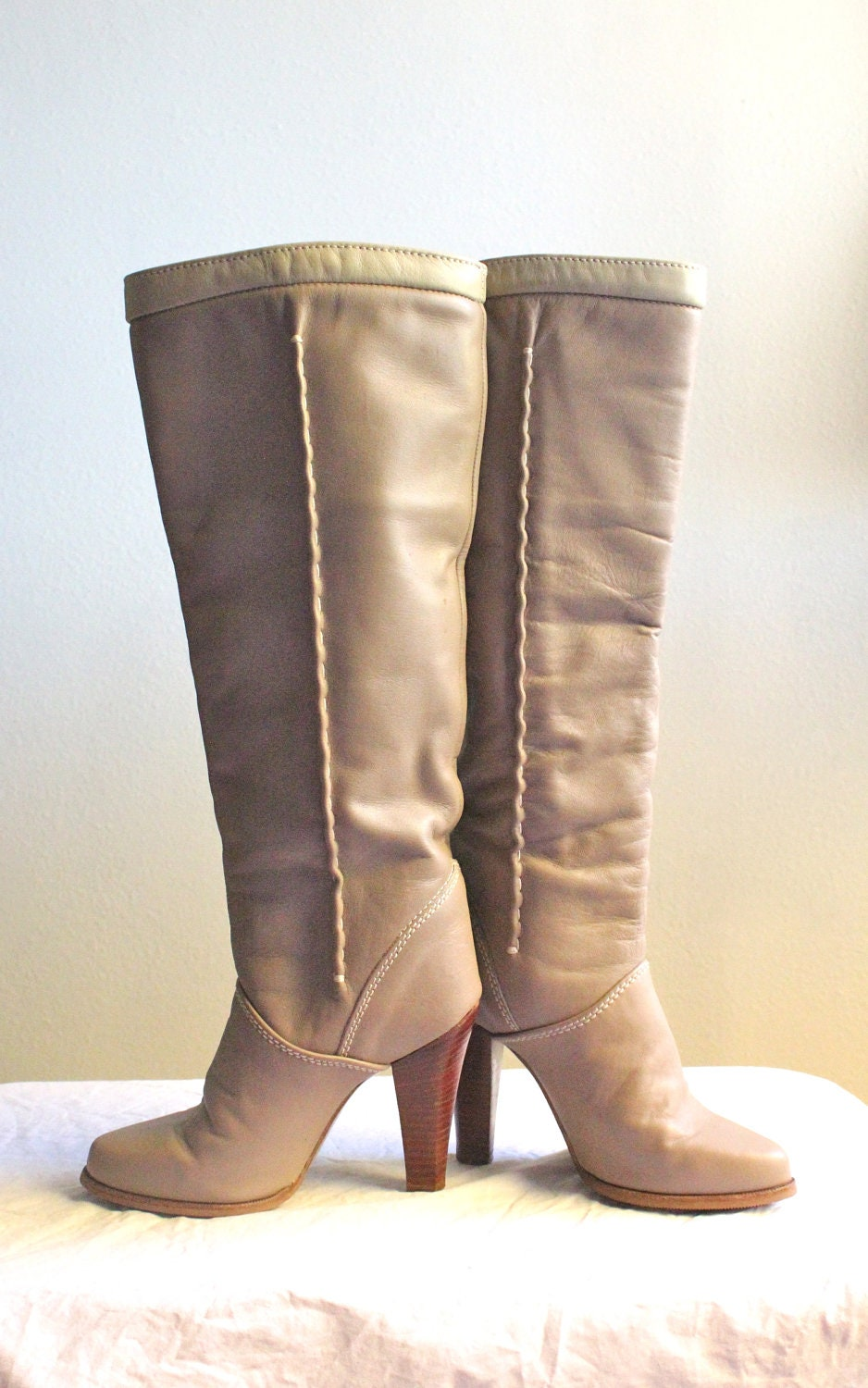 vintage italian zodiac taupe knee high boots by
