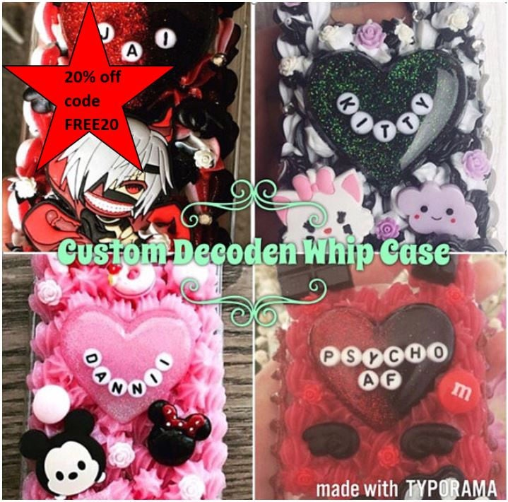 Custom Decoden Case KawaiiPastel GothCreepy cute Whip Phone Case For iPhone 44s 55sSE 6 6 Plus 7 Samsung galaxy S5 and more