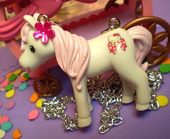 whimsical girly baby white horse my little pony style with cotton candy pale pink mane HELLO KITTY kitten peeking over BOW sweet hot pink flower daisy necklace- faerie fairy pixie scene retro