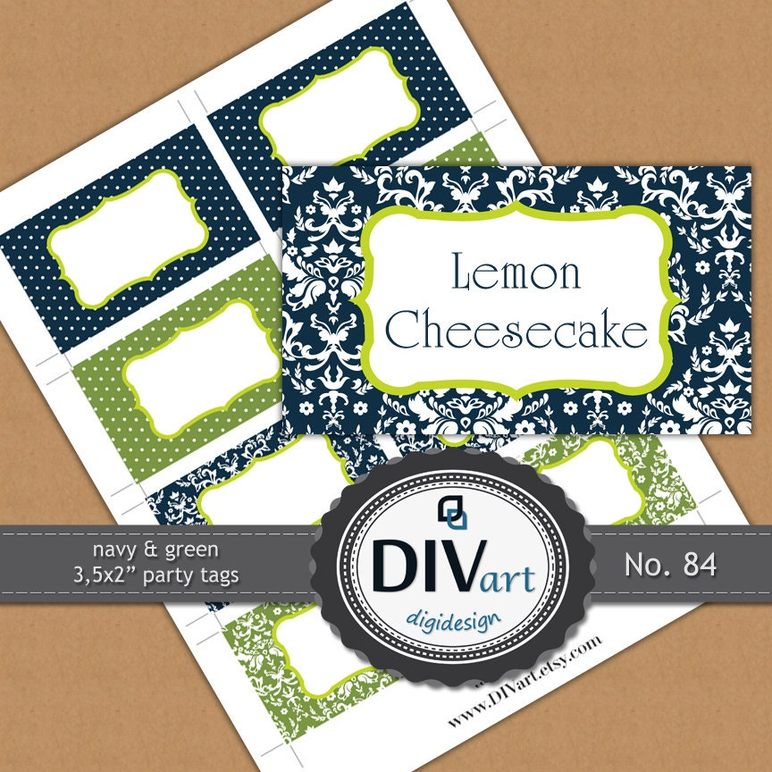 "PRINTABLE Party - 3,5x2"" Party Tags, Gift Tags, Food Labels, Place Cards - polkadots, damask - navy & green - No. 84"