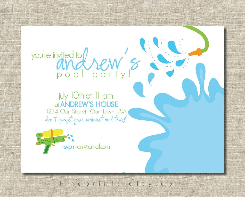 splash swim pool party printable invitation by FinePrints on Etsy
